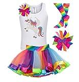 Bubblegum Divas Big Girls Unicorn Shirt Rainbow Tutu Birthday Gift Set 4pcs 7-8