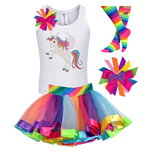 Bubblegum Divas Little Girls Unicorn Shirt Rainbow Tutu Birthday Gift Set 4pcs -