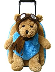 Kreative Kids Adorable Aviator Pilot Bear Rolling Backpack w/ Removable Stuffed Toy & Wheels