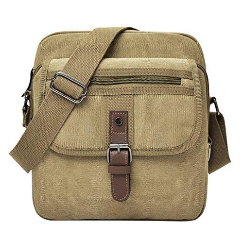 Canvas Khakis - Lonson Canvas Messenger Bag Travel Crossbody Bag Vacation Shoulder Bag (Khaki)