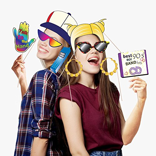 90's Throwback Party Decoration 1990s Party Photo Booth Props Kit 1990's Party Supplies- 37 Count by Hondar (Image #7)