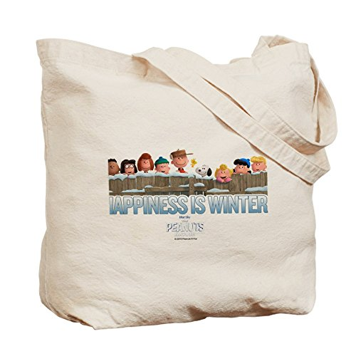 Cafepress–Happiness is Winter–Borsa di tela naturale, tessuto in iuta