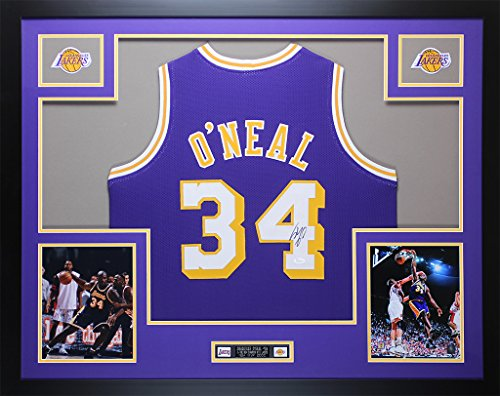 Shaquille O'Neal Autographed Purple Lakers Jersey - Beautifully Matted and Framed - Hand Signed By Shaquille O'Neal and Certified Authentic by JSA - Includes Certificate of Authenticity (Frame Shaquille Oneal)