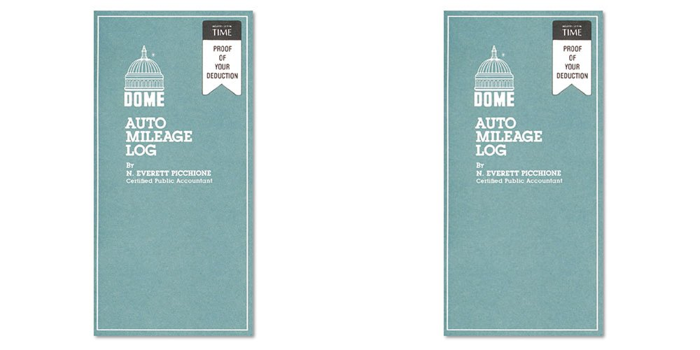 Dome(R) Auto Mileage Log, Card Stock Cover, 3 1/4in. x 6 1/4in., Gray, 2 Packs