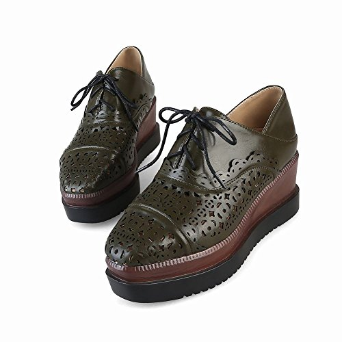 Square Deep Retro Hollow green Toe Up Wedges Lace Shoes Women's Carolbar Out Oxfords wIqPBFx