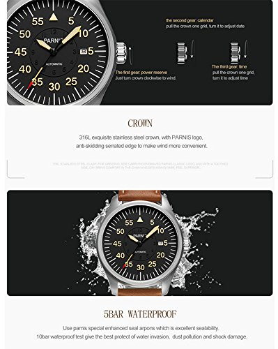 Luxury Men Automatic Mechanical Black Dial Luminous Waterproof Sapphire Genuine Brown Leather Watch (Brown Silver Black) by Fanmis (Image #4)