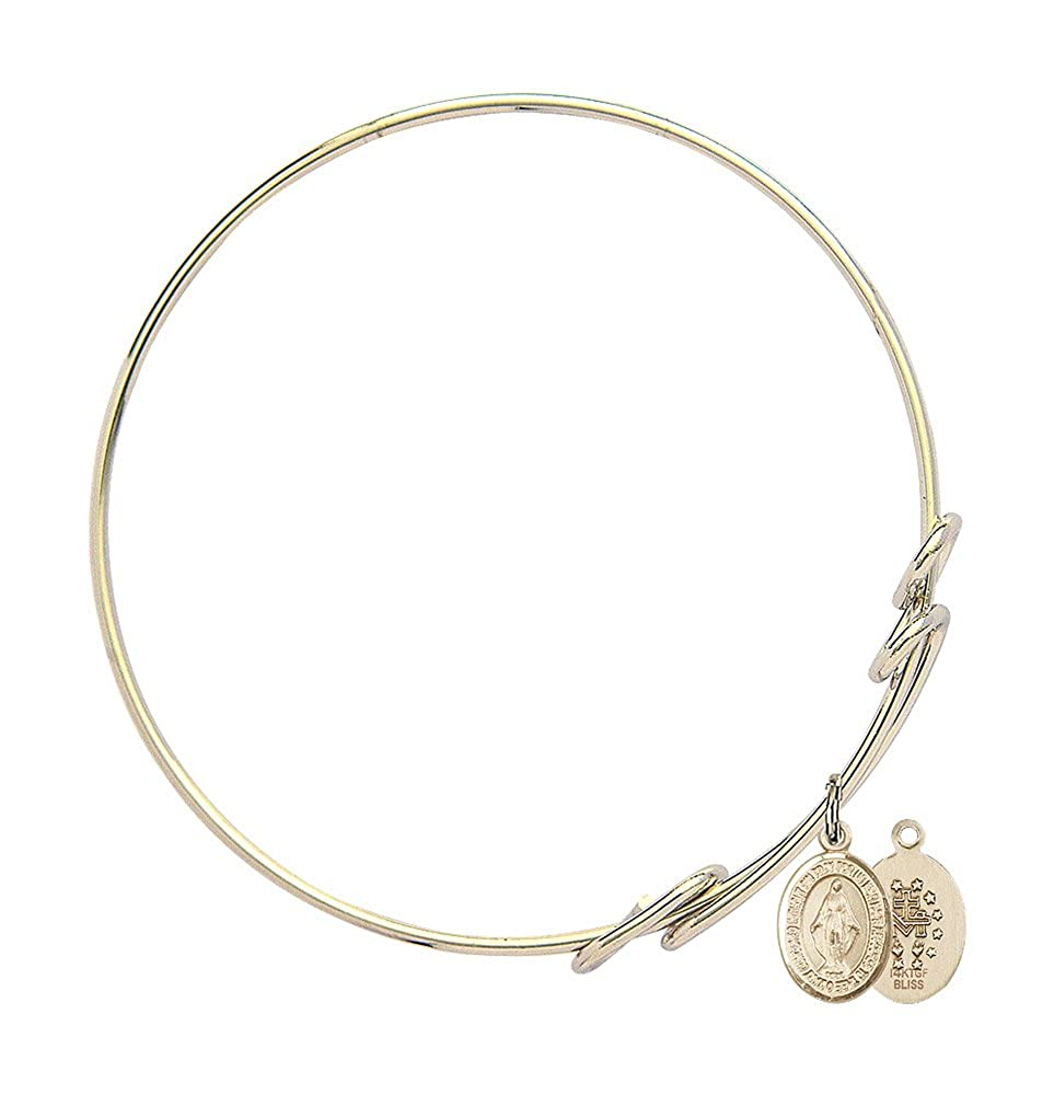 Miraculous Charm On A 8 1//2 Inch Round Double Loop Bangle Bracelet