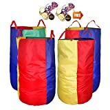 Potato Sack Race Bags 34''Hx17''W(Pack of 4) with Game Prizes(12Pcs) for Children and Adults,High Quality,Bright Colors,No Smell, A Perfect Outdoor Games for Birthday Parties,Family Reunions