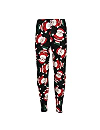 Kids Girls Christmas Legging Santa Snowman Penguin Print Xmas Fashion Leggings