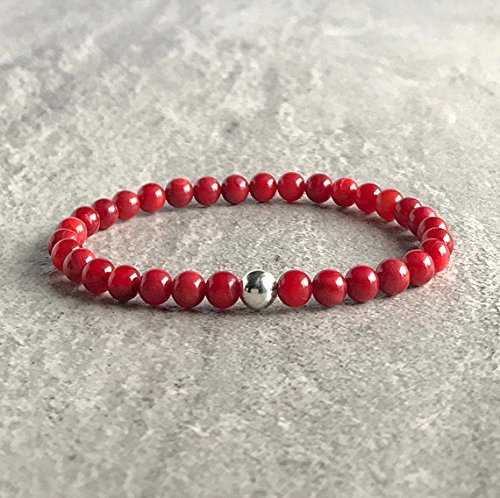 (Red Coral Bracelet | Bamboo Coral Jewelry for Women, Men | Sterling Silver Bead Bracelet Set | Crystal Stretch Bracelet 6 mm 7 inch long)