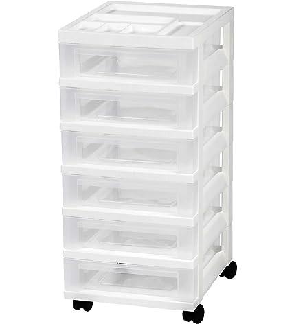 IRIS 6 Drawer Storage Cart With Organizer, White