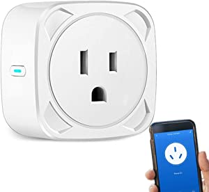 WiFi Smart Plug Socket Mini Wireless Outlet Compatible with Echo Alexa Google Home, Aigital Wi-Fi Plug with Remote Control and Timer Function, No Hub Required (10A Max Supported)