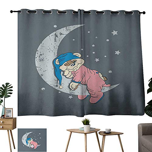 WinfreyDecor Bear Exclusive Home CurtainsCute Kids Design with a Baby Bear in Pajamas Sleeping on The Grungy Moon Set of Two Panels 55