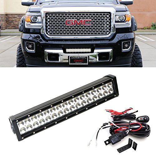 iJDMTOY High Power Double-Row LED Light Bar with Hidden Lower Bumper Mounting Bracket & Relay Wire Switch For 2015-up GMC Sierra 2500HD 3500HD