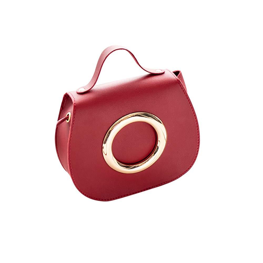 Shoulder Bag for Women Fashion Pure Color Leather Messenger Shoulder Chest Bag Series 1,Rakkiss Red