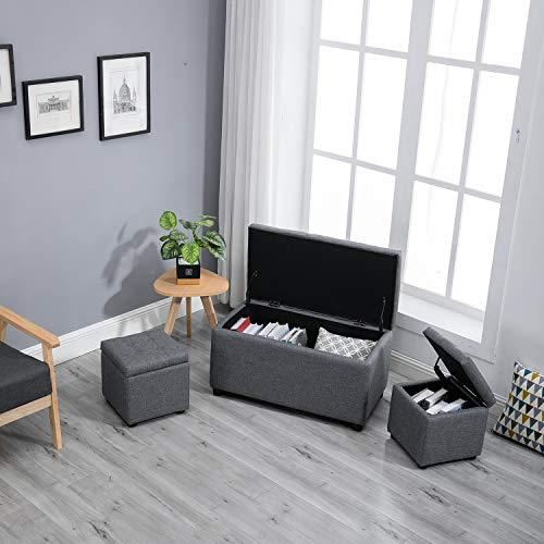 Samincom 3 Piece Rectangular Cube Storage Ottoman Bench Set with Fabric Upholstery ()