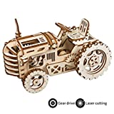 ROBOTIME Wooden Mechanical Gears Kits 3D Puzzle Brain Teaser Executive Desk Toys Best Birthday Gifts for Teens & Adults(Tractor)