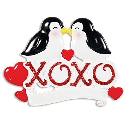 Personalized XOXO Penguins Christmas Tree Ornament 2019 - Cute Happy Bird Couple on Red Glitter Word Hugs & Kisses Heart 1st Love First Romantic and Grand-Parent Gift Year - Free Customization ()