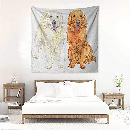 (Golden Retriever DIY Tapestry Smiling Pale and Red Gun Dog Breed Sitting and Staying Thoroughbred Wall Hanging Carpet Throw 47W x 47L INCH Orange Ivory Pink)