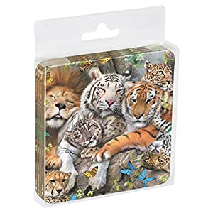 Tree-Free Greetings Set Of 4 Cork-Backed Coasters, 3.75 x 3.75 Inches, Big Cat Cuddle Themed Wildlife Art (52810)