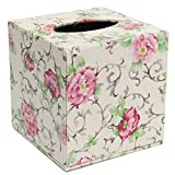 SODIAL(R) Durable Room Car PU Leather Square Tissue Box Paper Holder Case Cover Napkin Color:Pastoral flowers,Size: 13.8 * 13.8 * 13cm