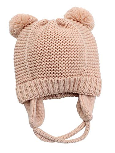 Zando Toddler Baby Winter Hat Soft Warm Earflap Beanies Infant Knit Cute Caps for Boys Girls Pink S (6-12 Months)
