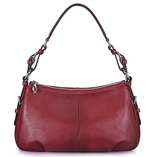 S-ZONE Womens Hobo Genuine Leather Shoulder Bag Top-handle Handbag Ladies Purses (Wine)