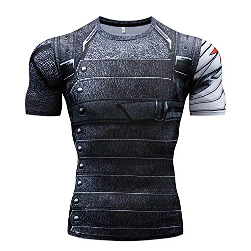 RONGANDHE Men's Super-Hero Compression Sports Fitness T-Shirt Quick-Drying Cool Running Winter Soldier-short-CY023-M]()