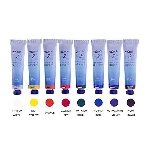 Mont Marte Oil Paint Set Water Mixable 8x18ml, Titanium White,Mid Yellow,Orange,Cadmium Red,Phthalo Green,Cobalt Blue,Ultramarine Violet,Ivory Black