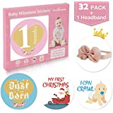 32 Pack Baby Monthly Milestone Stickers for Boys & Girls...