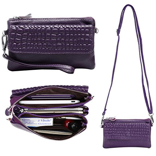 Women Soft Genuine Leather Smartphone Wristlet Purse Cell Phone Cross Body Bag Wallet Clutch Handbag with Card Slots/Shoulder Strap/Wrist Strap - for iPhone 6s Plus,iPhone 6s (Purple) by Semikk