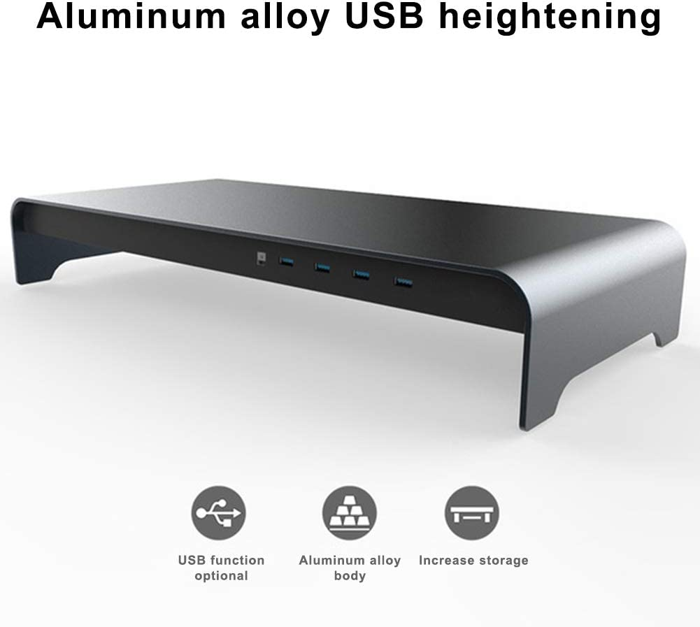 New USB Notebook Heightening Smart Base Aluminum Alloy Computer Laptop Base Stand with 4 USB 3.0 Port PerGrate Laptop Stand for Desk A//B