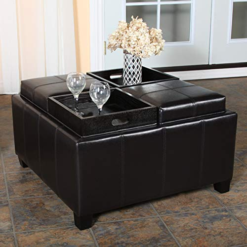 Great Deal Furniture Harley Leather Espresso Tray Top Storage Ottoman ()