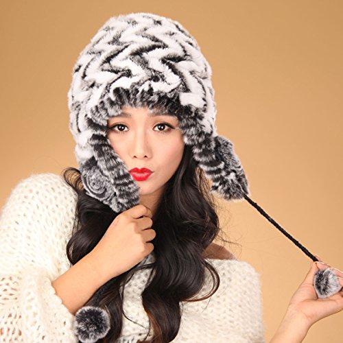 URSFUR Women's Knit Rex Rabbit Fur Bonnet Hat with Pom Poms Multicolor (Black & White)