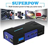 Superpow Car Jump Starter 800A Peak 18000mah Battery Booster Portable Power Bank with Phone Charger(up to 6.5L Gas, 5.2L Diesel Engine) (800A)