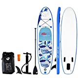 Goplus Inflatable Stand up Paddle Board iSUP Cruiser 6' Thickness iSUP Package w/3 Fins Thuster, Adjustable Paddle, Pump Kit and Carry Backpack (Wave, 10 FT)