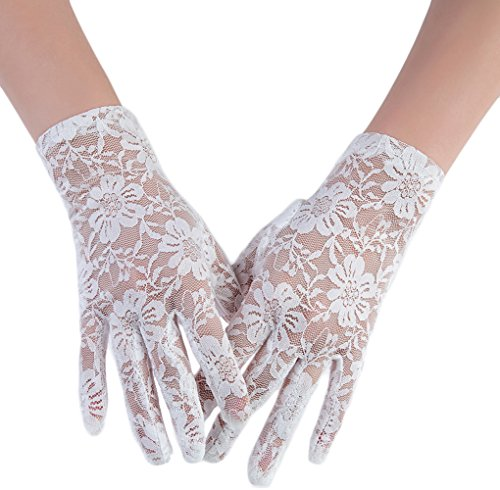 M Bridal Women's Vintage Sheer Floral Lace Wrist Length Gloves for Wedding Party Brides Accessory G01 (White Style B)