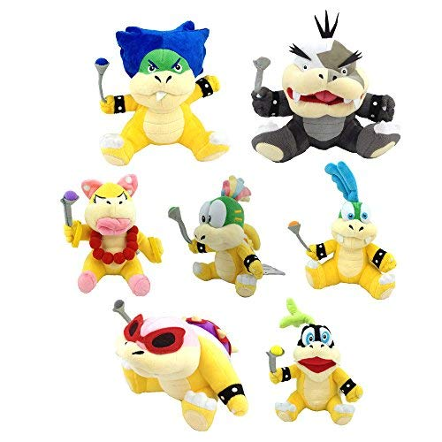 Super Mario Bros Koopalings Larry Iggy Lemmy Roy Ludwig Wendy Morton Koopa Soft Plush Toy 7.5'' (Pack of 7) by Generic