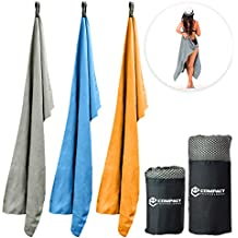 World's Most COMPACT Microfiber Towel. Seriously! Lightweight and Quick Dry. Ultra Absorbent Luxury Towel. Perfect for Gym, Travel, Camping, Beach, Sports, Bath, Yoga, Swimming Etc.