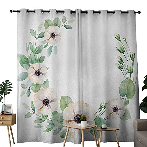 - Anemone Flower Decor Curtains Round Composition with Flourishing Fresh Bedding Plants and Stems for Living, Dining, Bedroom (Pair) W108 x L84 Green Peach Black