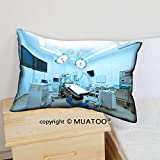 MuaToo Decorative Soft Throw Cover Pillow Cover Pillowcase Cotton Canvas Case, Equipment Medical Devices in Modern Operating Room take Art Lighting Blue Filter 20 x 36 Couch, 2 Pack