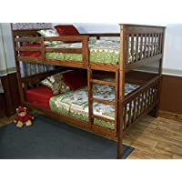 BEST TWIN BUNK BEDS FOR KIDS WITH LADDER, Twin Over Twin Bed Bunkbeds, Amish Made in the USA As Quality Matters, Sturdy & Long Lasting Bedroom Furniture for Children (Twin Bunks, ASBURY STAIN)
