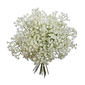 Womdee Babys Breath Artificial Flowers, 3 Forks Fake Gypsophila Babysbreath False Blossom for Wedding Home DIY Decor(X Pcs) 117