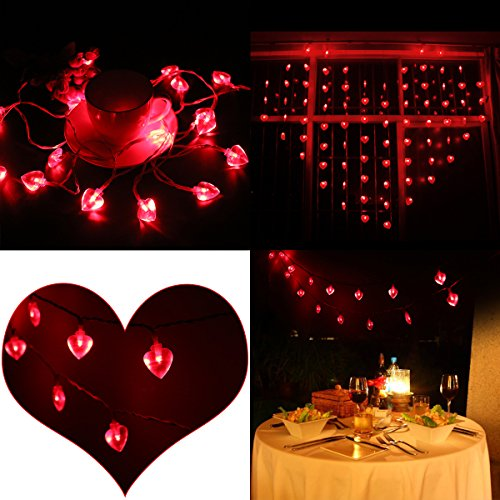 LEORX Heart Shaped String Lights 10 Ft. 2 Modes for Mother's Day, Birthdays, Anniversaries, Weddings, and Special (Heart Lights)
