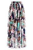 Topdress Women's Floor Length Beach Skirt Floral Print Chiffon Maxi Skirts Mint Patten S