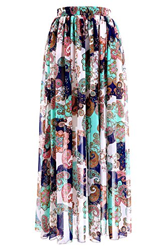 7d1d30355f NREALY Skirt Womens Boho Maxi Skirt Beach Floral Holiday Summer High Waist  Long Skirt NREALY-