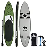 "Atoll 11'0"" Foot Inflatable Stand Up Paddle Board, (6 Inches Thick, 32 inches Wide) ISUP, Bravo Hand Pump and 3 Piece Paddle, Travel Backpack New Paddle Leash Included (Green)"