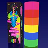 [6 Pack] [6 Colors], [1 inch X 25 feet per roll], Extra Wide, Fluorescent Blacklight Tape Rolls, Blue, Yellow, Green, Orange, Red, Pink, Bright Glow Under Backlights, Decorate for Birthdays, Partys