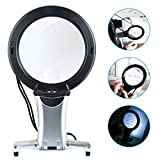 Reading Magnifier, Hands Free Neck Wear Handheld Large Lighted Magnifying Glass Desktop Magnifier with LED Light for Close Work, Reading, Sewing, Cross Stitch, Inspection, Repair, Crafts