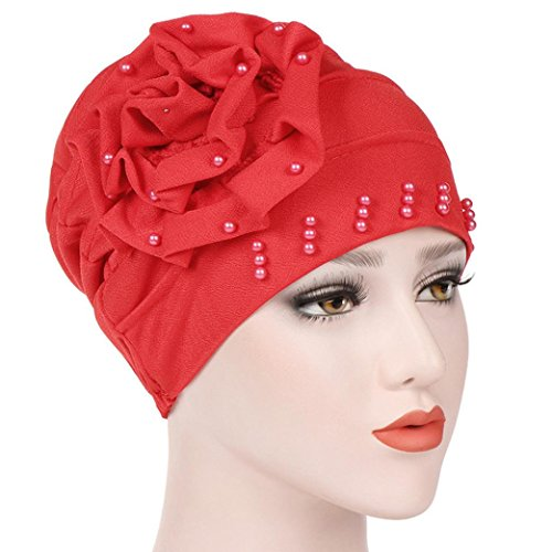 Matoen Women Beading India Hat Muslim Ruffle Beanie Scarf Turban Wrap Cap for Cancer Chemo (Red Brush Cotton Hat)